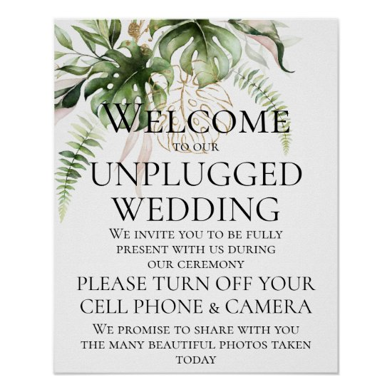 Tropical Greenery Unplugged Wedding Ceremony Poster
