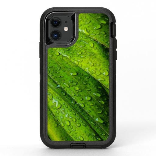 Tropical Greens with Raindrops OtterBox Defender iPhone 11 Case