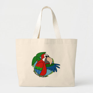 Tropical Greenwing Macaw Jumbo Tote Bag