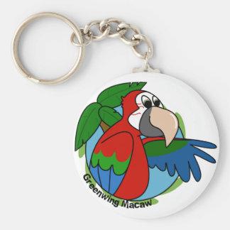 Tropical Greenwing Macaw Keychain