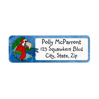 Tropical Greenwing Macaw Return Address Label