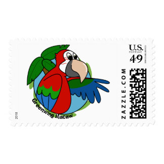 Tropical Greenwing Macaw Postage Stamps