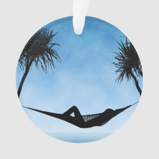 Tropical Hammock Blue Sky Silhouette Design
