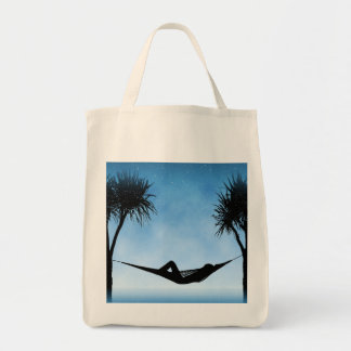Tropical Hammock Blue Sky Silhouette Design Tote Bag