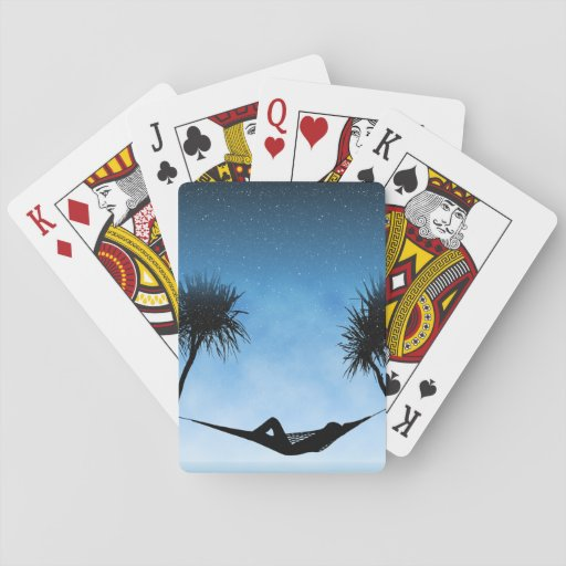 Tropical Hammock Blue Sky Silhouette Design Poker Deck