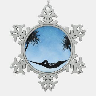 Tropical Hammock Blue Sky Silhouette Design Snowflake Pewter Christmas Ornament