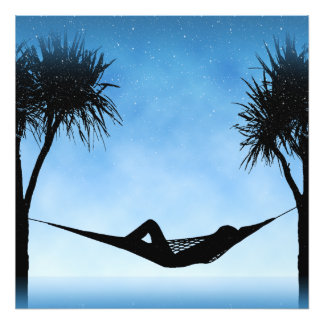 Tropical Hammock Blue Sky Silhouette Design Photograph