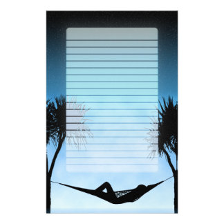 Tropical Hammock Blue Starry Sky Silhouette Lined Stationery