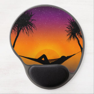 Tropical Hammock Sunset Silhouette Design Gel Mouse Pad