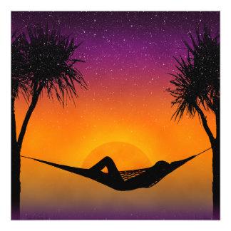 Tropical Hammock Sunset Silhouette Design Photographic Print