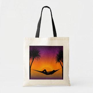 Tropical Hammock Sunset Silhouette Design Tote Bag