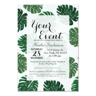 Tropical Hand Painted Swiss Cheese Plant Leaves Card