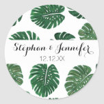Tropical Hand Painted Swiss Cheese Plant Leaves Classic Round Sticker