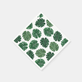 Tropical Hand Painted Swiss Cheese Plant Leaves Paper Napkin