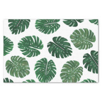 Tropical Hand Painted Swiss Cheese Plant Leaves Tissue Paper
