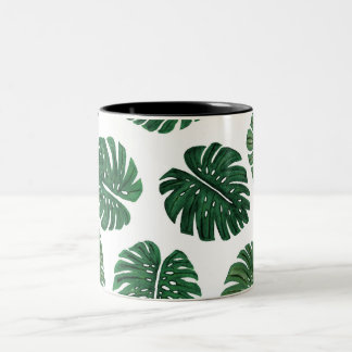 Tropical Hand Painted Swiss Cheese Plant Leaves Two-Tone Coffee Mug
