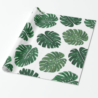 Tropical Hand Painted Swiss Cheese Plant Leaves Wrapping Paper