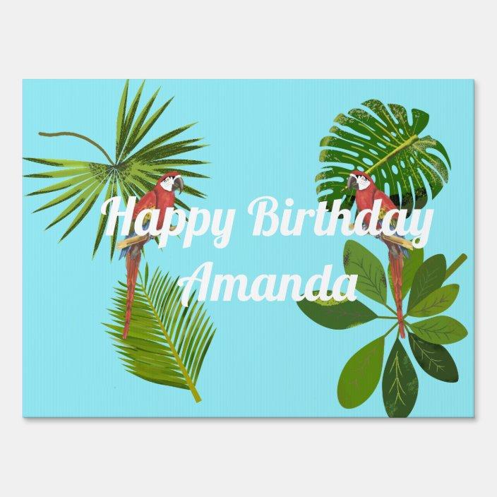Tropical Happy Birthday Sign Zazzle Com