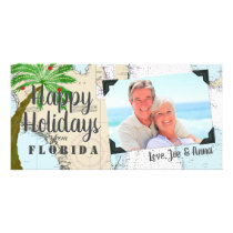 Tropical Happy Holidays from Florida Nautical Card