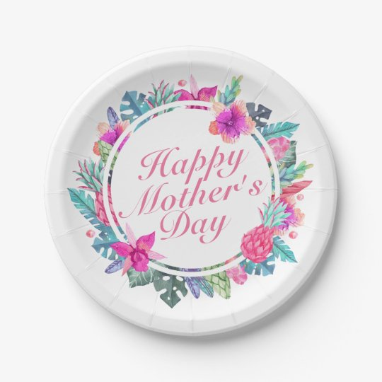 Tropical Happy Mother\'s Day Frame Paper Plate | Zazzle.com