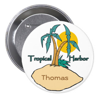 Tropical Harbor 3 Inch Round Button
