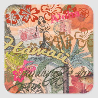 Tropical hawaiano colorido del viaje de Hawaii del Pegatina Cuadrada