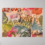 Tropical hawaiano colorido del viaje de Hawaii del Póster