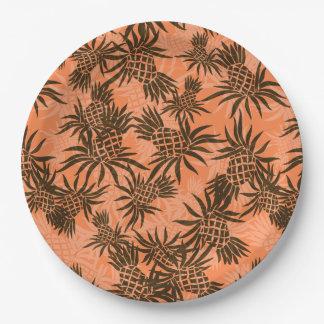 Tropical hawaiano de Camo de la piña Platos De Papel
