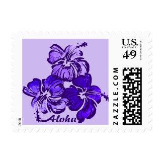 Tropical hawaiano del hibisco de la acuarela sello