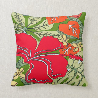 Tropical Hawaii Hibiscus Throw Pillow