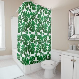 Tropical Hawaii Monstera Plant Palm Leaves Shower Curtain