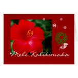 Tropical Hawaii Red Hibiscus, Mele Kalikimaka Greeting Card