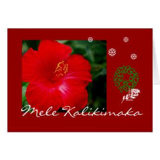 Tropical Hawaii Red Hibiscus Mele Kalikimaka Greeting Card