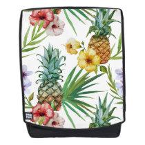 Tropical hawaii theme watercolor pineapple pattern backpack