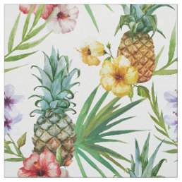 Tropical hawaii theme watercolor pineapple pattern fabric