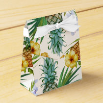 Tropical hawaii theme watercolor pineapple pattern favor box