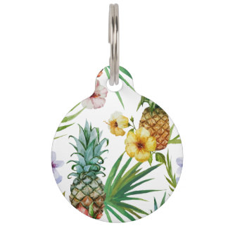 Tropical hawaii theme watercolor pineapple pattern pet tag