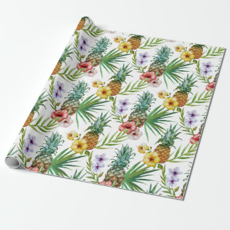 Tropical hawaii theme watercolor pineapple pattern wrapping paper