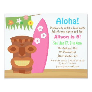 RustyDoodle Tropical Hawaii Tiki Luau Beach Birthday Party Card