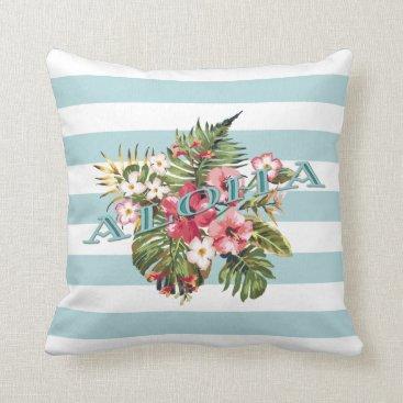 Beach Themed Tropical Hawaiian Aloha Floral & Aqua Stripe Throw Pillow