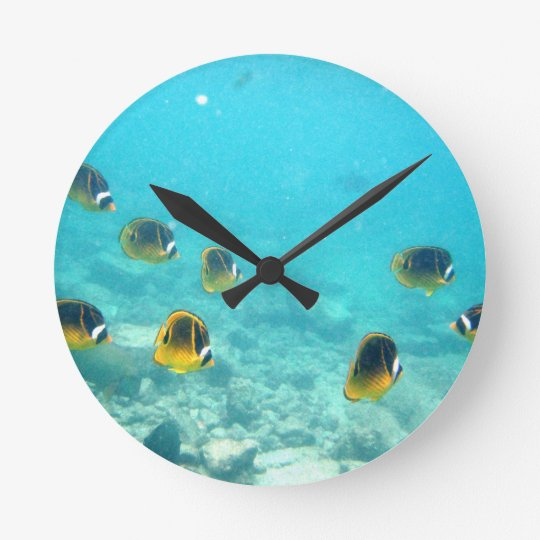 Tropical Hawaiian Fish Wall Clock