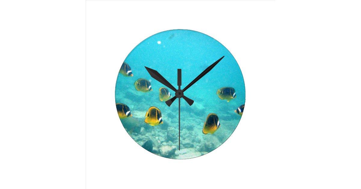 Tropical hawaiian fish wall clock zazzle for Fish wall clock