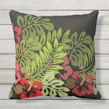 Beach Themed Tropical Hawaiian Floral Chic Art Throw Pillow