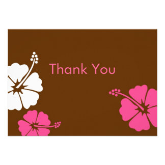 Tropical Hawaiian Flower Flat Thank You Note Cards Custom Invites