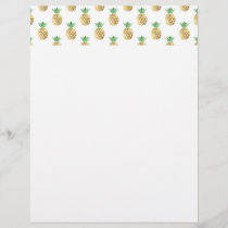 Tropical Hawaiian Gold Foil Pineapple Pattern