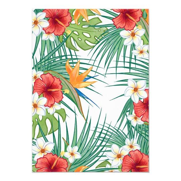 Tropical Hawaiian Hibiscus Aloha Bridal Shower Card (back side)