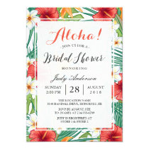 Tropical Hawaiian Hibiscus Aloha Bridal Shower Invitation