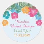 Tropical Hawaiian Hibiscus Bridal Shower Sticker