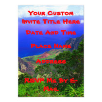 Tropical Hawaiian Island Coast Invitation