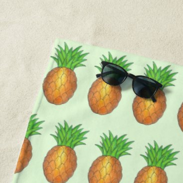 Beach Themed Tropical Hawaiian Island Pineapple Fruit Print Beach Towel